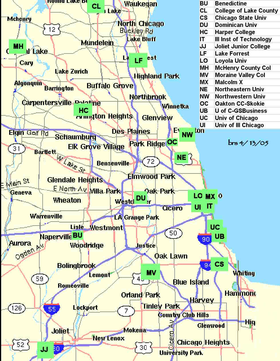 Mapof Chicago Area Colleges With Possible Chess Clubsteams